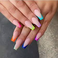 Colorful French Tip Acrylic Nails